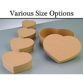 Paper Mache Heart Flat Boxes with Lids to Decorate