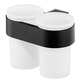 Double Tempered Glass Toothmug Toothbrush Cup Bathroom Black Powder Coated Zamak