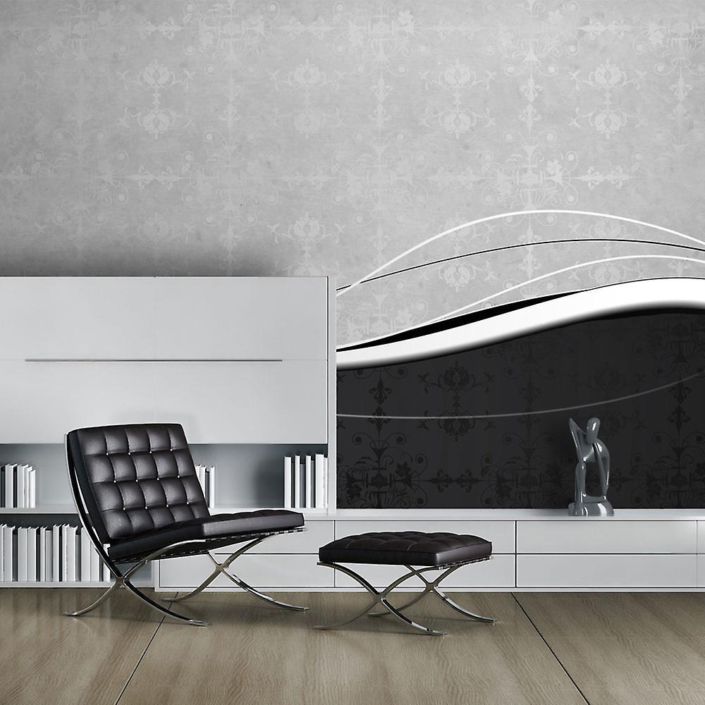 Papier peint - Vagues en noir et blanc (vintage)
