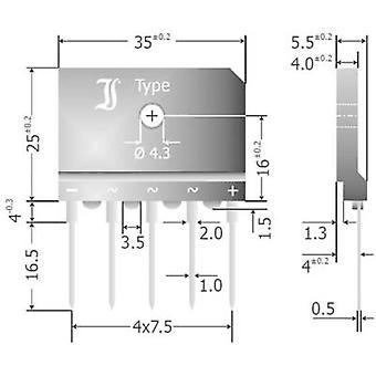 Diotec DBI25-12A Diode bridge SIL 5 1200 V 25 A 3-phase