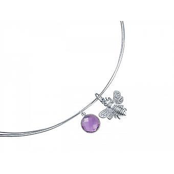 Halskette – Anhänger -  925 Silber – Biene – Amethyst – Violett – Lila – 45 cm