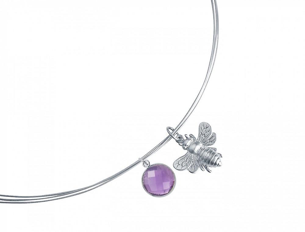 Halskette – Anhänger -  925 argent – Biene – Amethyst – Violett – violet – 45 cm