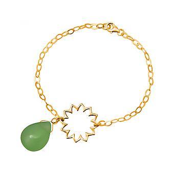 Calcedonia - gotas - verde - YOGA - mandala - chapado en oro - pulsera - plata 925-