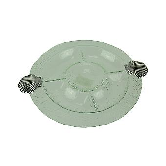 Glass og metall kamskjell Shell Compartmented nyte brett
