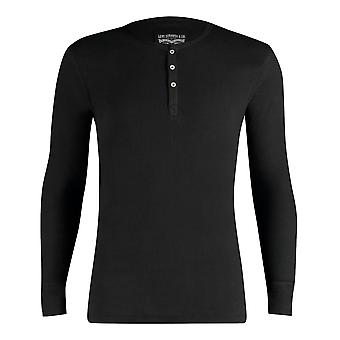 Levi's 300ls Ribbed Cotton Long Sleeve Henley T Shirt - Jet Black