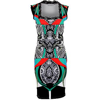 Damen Lace Square Neck Multi Colour gemustert Strecken Bodycon Damen Kleid