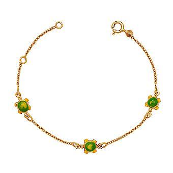 14k Yellow Gold 5.75 Inch Adjustable Three Turtles Enamel Baby Id Bracelet - Measures 6mm