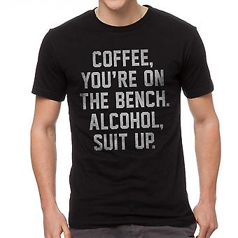 Coffee You're On The Bench Alcohol Suit Up Graphic Men's Black T-shirt