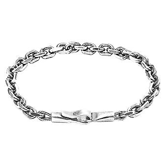 Anchor and Crew Halyard Single Sail Chain Bracelet - Silver
