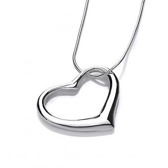 Plata francesa Cavendish Offset corazón colgante con cadena de plata de 16-18