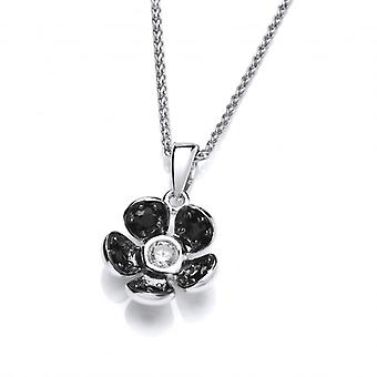 """Cavendish French Beautifully Black Crystal Flower Pendant with 16 - 18"""" Silver Chain"""