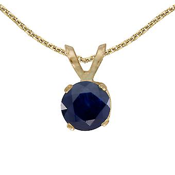 14k Yellow Gold Round Sapphire Pendant with 18
