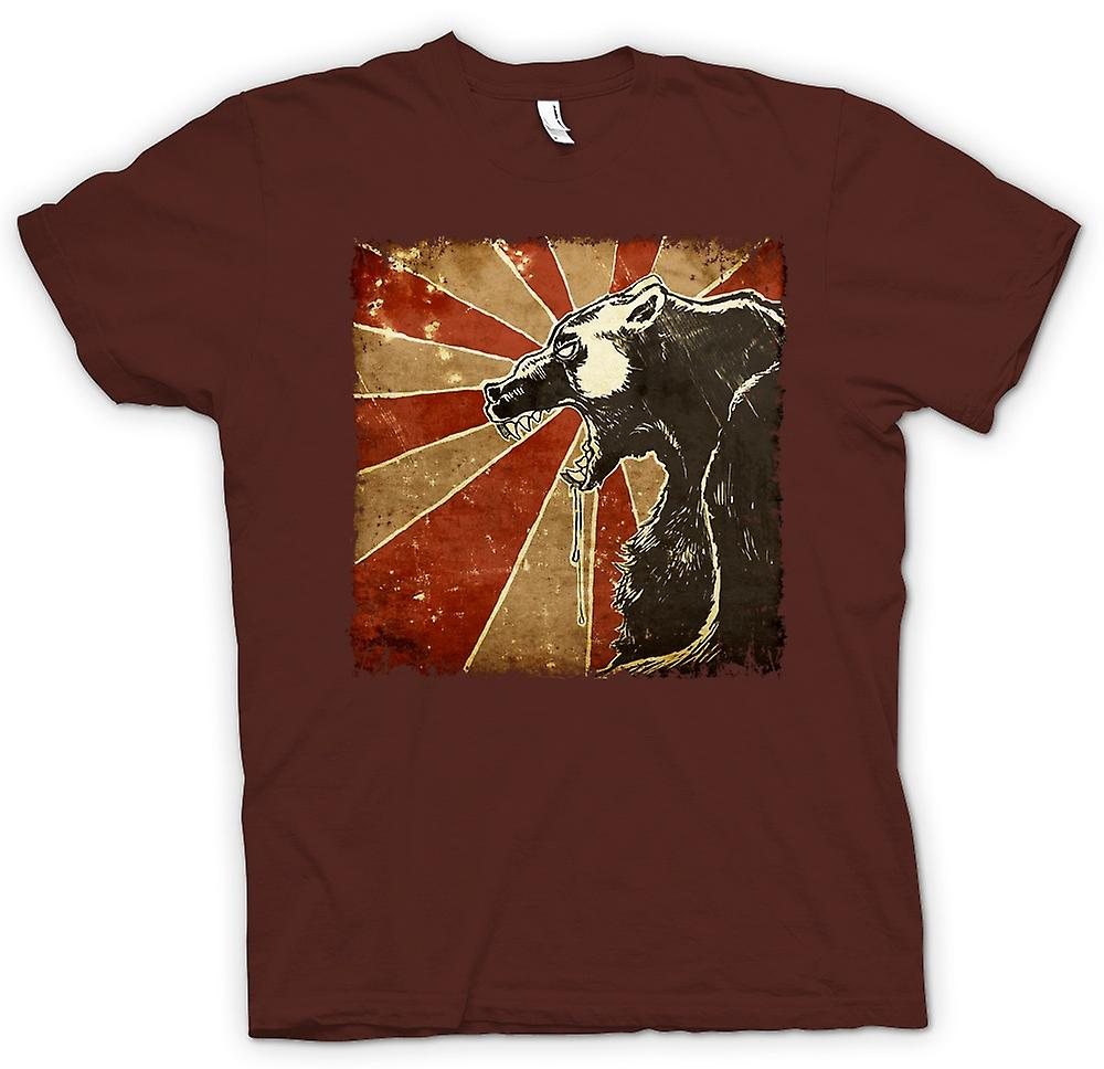 Mens t-shirt - orso russo - Cool retrò Poster