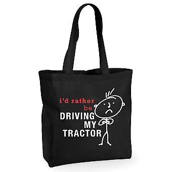 Mens, ich würde eher meinen Traktor fahren schwarze Baumwoll-Einkaufstasche