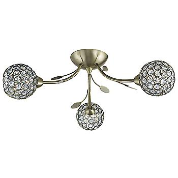 6573-3AB Bellis II Antique Brass/Glass 3 Light Semi Flush Ceiling Ligh