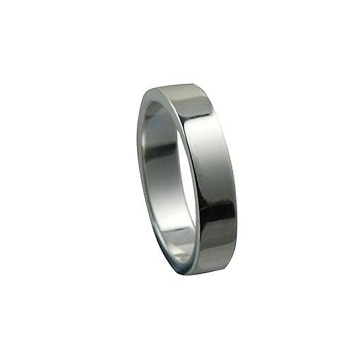 9ct White Gold 4mm plain flat Wedding Ring Size P