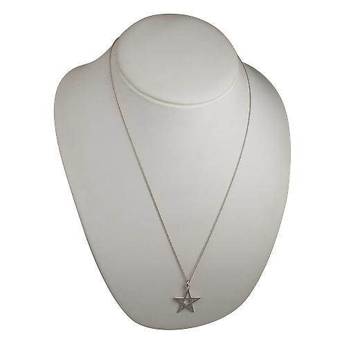 Silver 26mm plain Pentangle Pendant with a curb Chain 24 inches