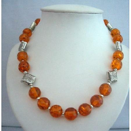 Natural Amber Beads Jewelry Necklace Silver Bali Spacing Round Beads