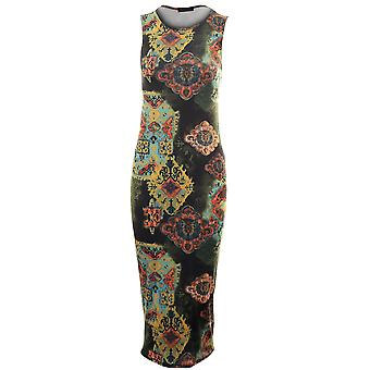 Ladies Sleeveless Midi Length Bodycon Three Various Prints Women's Dress
