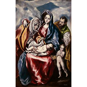 The Holy Family with St Anne and the Young St,El Greco,60x38cm