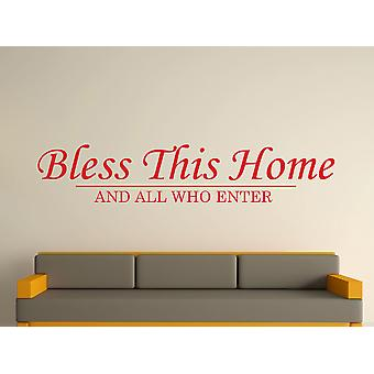 Bless This Home Wall Art Sticker - Cherry Red