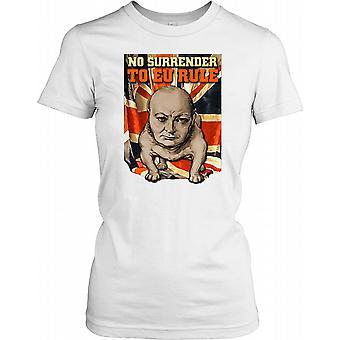 No entrega a UE regla - Winston Churchill - Bulldog las señoras T Shirt