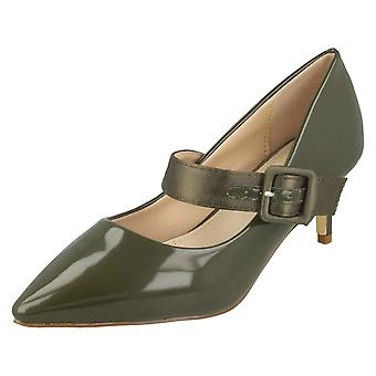 Ladies Spot On Chunky Buckle Strap Court Shoes F90059
