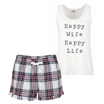 Happy Wife Happy Life Pink Tartan Pyjamas