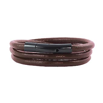 Leather necklace leather ribbon 6 mm men's necklace brown 17-100 cm long with lever print clasp black Round