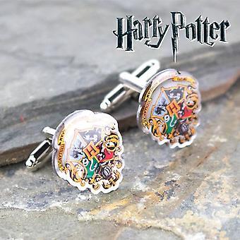 Harry Potter Hogwarts Crest Silver Plated Cufflinks