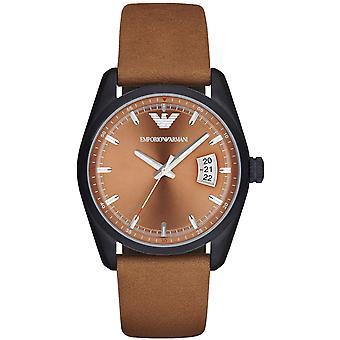 Emporio Armani Ar6080 sportivo analogico marrone cinturino in pelle orologio da uomo