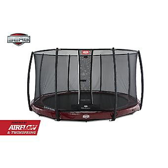 BERG InGround Elite 380 12.5ft Trampoline + Safety Net Deluxe Red