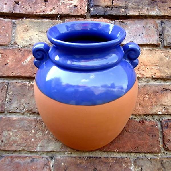 Hanging Terracotta Wall Pot Planter With Blue Glaze