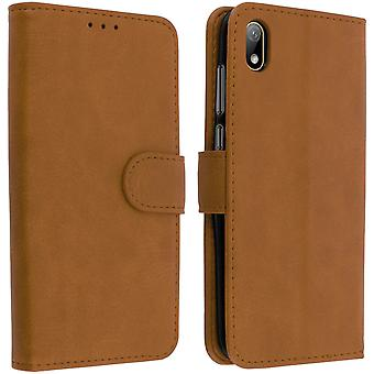 Flip wallet case, magnetic cover with stand for Huawei Y5 2019 - Brown