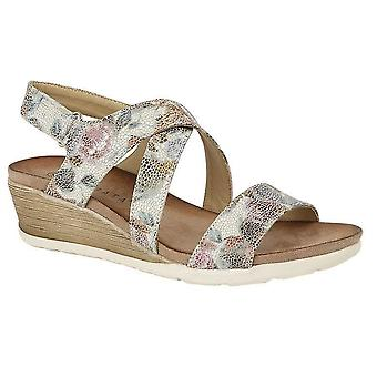 Ladies Womens Sandals Crossover Strap Wedge Mid Heel Shoes