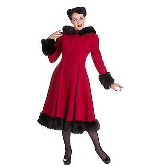 Hell Bunny Burgundy Hooded Elvira Coat S