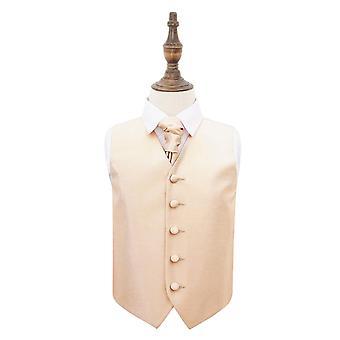 Champagne Solid Check bryllup vest & Cravat sæt til drenge