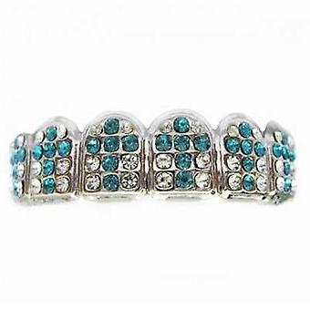 Grillz Silver Gatekeeper 72 Points Of Clear And Turquoise Cz Diamonds [Top]