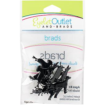 Broderie anglaise prise forme Brads 12/Pkg-chien Silhouette QBRD2-97