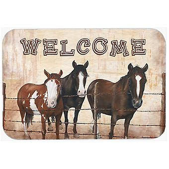 Welcome Mat with Horses Mouse Pad, Hot Pad or Trivet SB3059MP