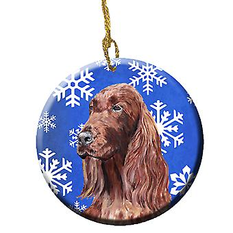 Irish Red Setter Winter Snowflakes keramischen Ornament SC9594CO1