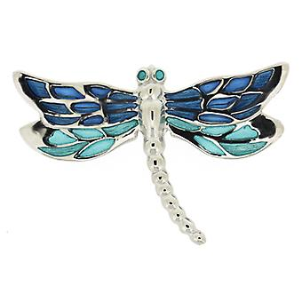 Fine Enamels Sterling Silver and Turquoise Blue Enamel Dragonfly Brooch