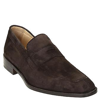 Dark brown suede leather penny loafers shoes handmade