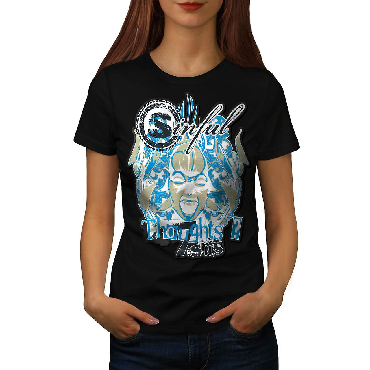 Sin City Thought Hell Crazy Mind Women Black T-shirt | Wellcoda