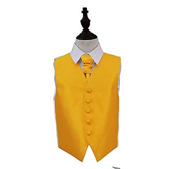 Boy's Sunflower Gold Solid Check Wedding Waistcoat & Cravat Set