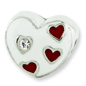 Sterling Silver Polished Antique finish Reflections Kids Enameled Heart With Hearts Bead Charm