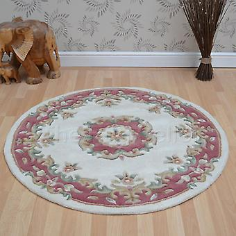 Royal Aubusson Circular Rugs In Cream Pink