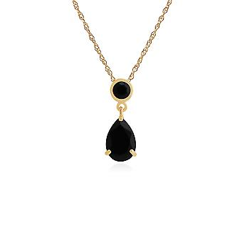 Gemondo 9ct Yellow Gold 1.88ct Black Onyx Pendant on 45cm Chain