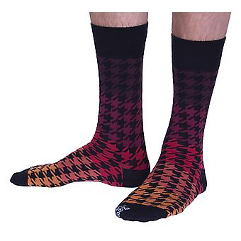 The Houndstooth luxury cotton dress sock in red | Made in Wales by Corgi