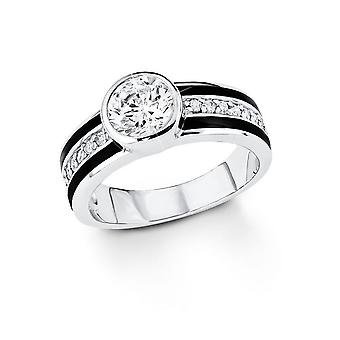 s.Oliver jewel white SO1109 black ladies silver cubic zirconia ring